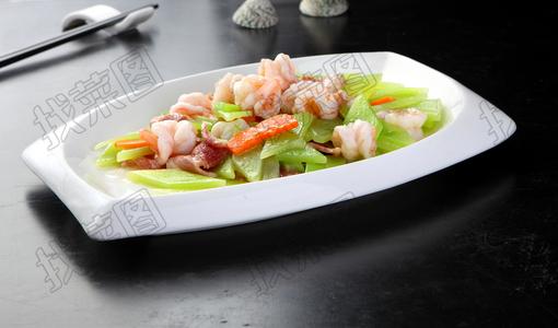 碧绿腌肉炒虾球 - 找菜图
